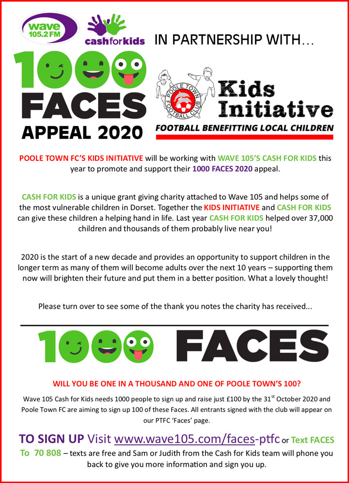 PTFC Wave 105 1000 Faces flyer